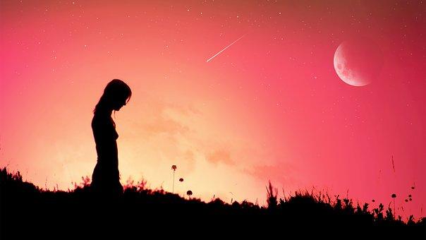 Woman, Meadow, Sunset, Silhouette, Sky