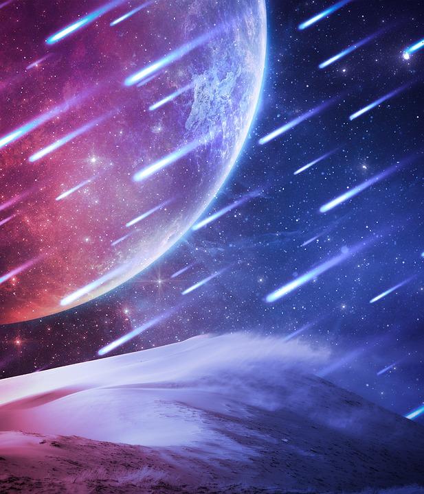 空, 流れ星, 流星群, コスモス, 惑星, 星, 砂漠, グラデーション, サイエンス フィクション