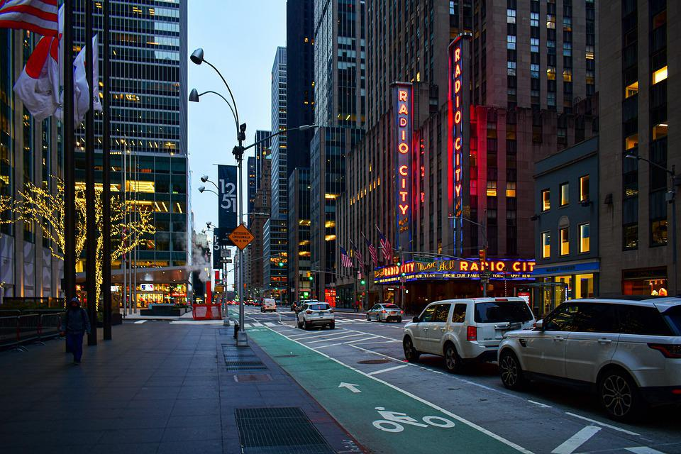 Street view of Radio City Music Hall, one of the New York music venues that can reopen in April.