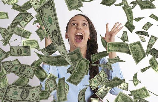 Woman, Happy, Winning, Lottery, Money