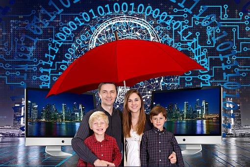 Familie, Kinderschutz, Regenschirm