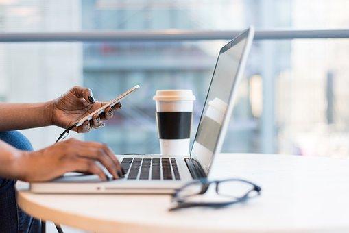 ラップトップ, メガネ, オフィス, ビジネス, 仕事, オンラインでの求人