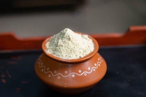 Bath Powder, Pot, Clay Pot, Storage, Gram Flour for Fair Skin