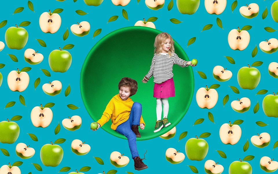 Деца, Ябълки, Текстура, Плодове, Здраве, Детството