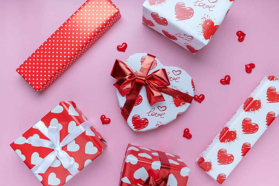Valentine, Gifts, Flat Lay, Hearts, Gift Boxes