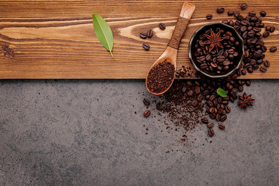 Grains De Café, Mise À Plat, Arrière Plan, Bol, Café