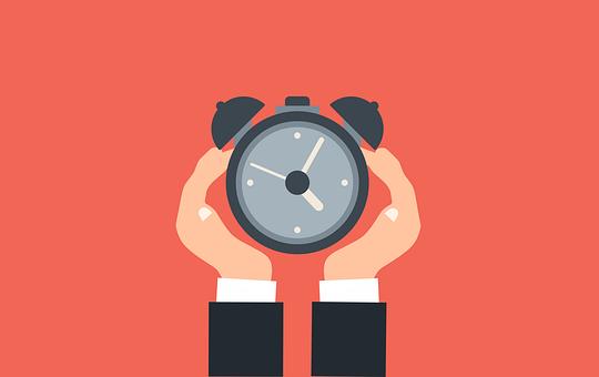 時間, アラーム, クロック, 期限, 手, 保持, 時計, タイマー, 生産性