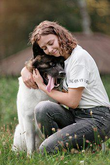 Dog, Girl, Love, Pet, Owner, Companion