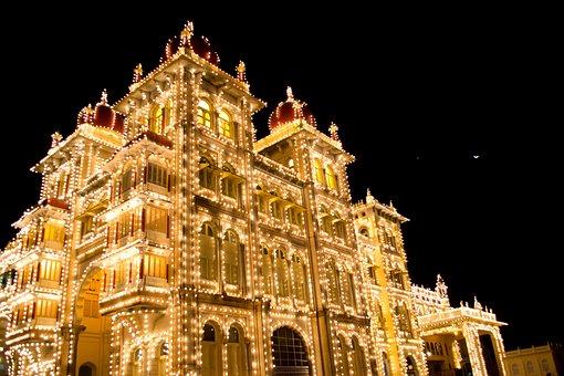 Mysore Palace, Illuminated, Building