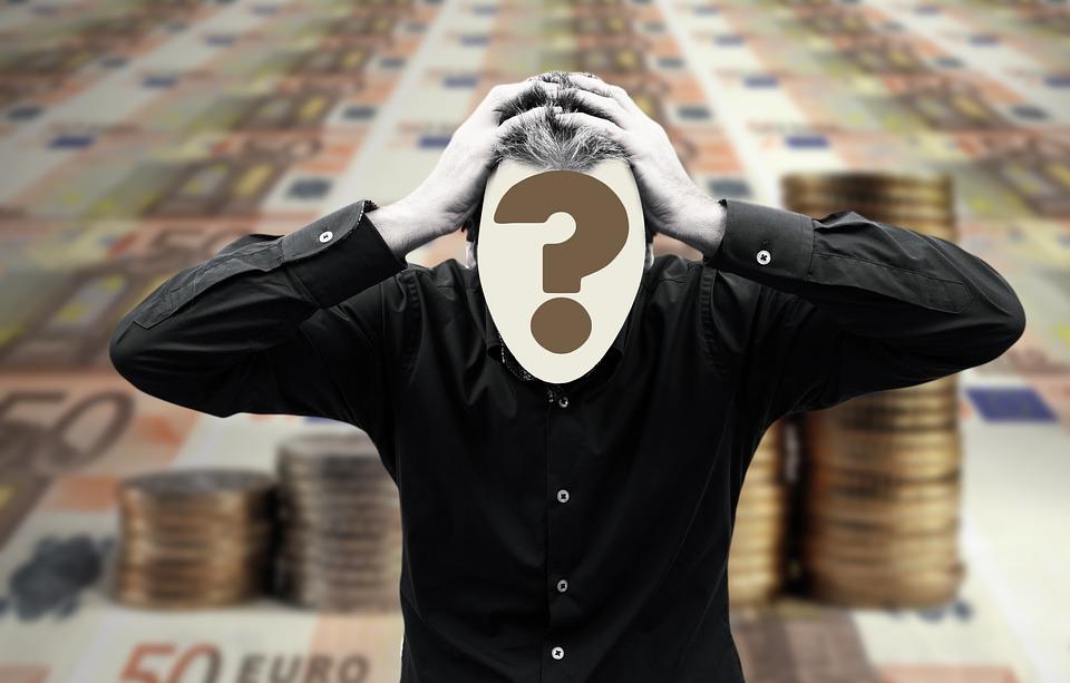 男, 手, 頭痛, お金, ファイナンス, バスト, Psychosis, 頭, 燃え尽き症候群, 疑問符