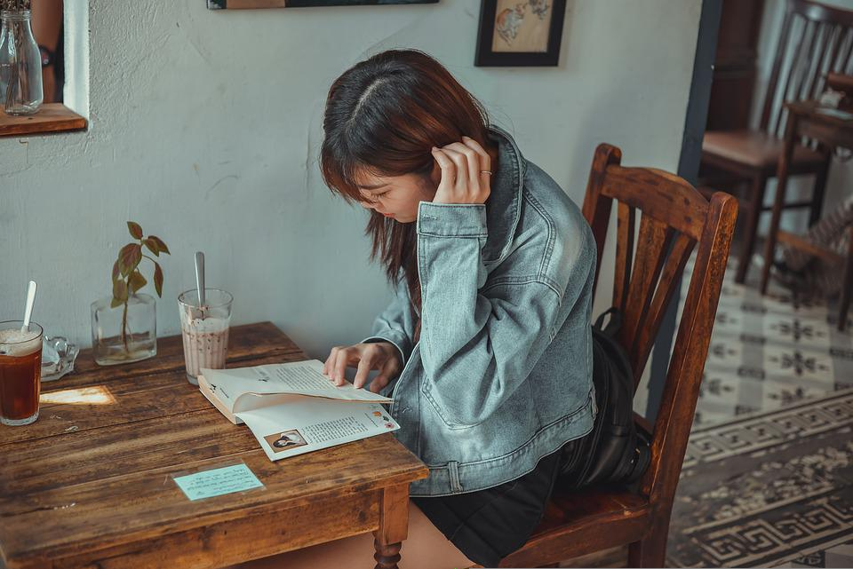 Cafe, Girl, Book, Reading, Read, Drink, Leisure