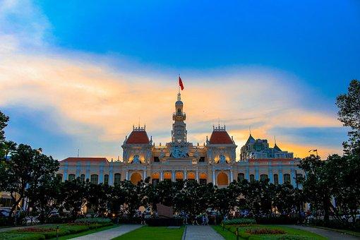 ホーチミン市役所, 建物, 日没, 市庁舎, タワー, サイゴン市庁舎