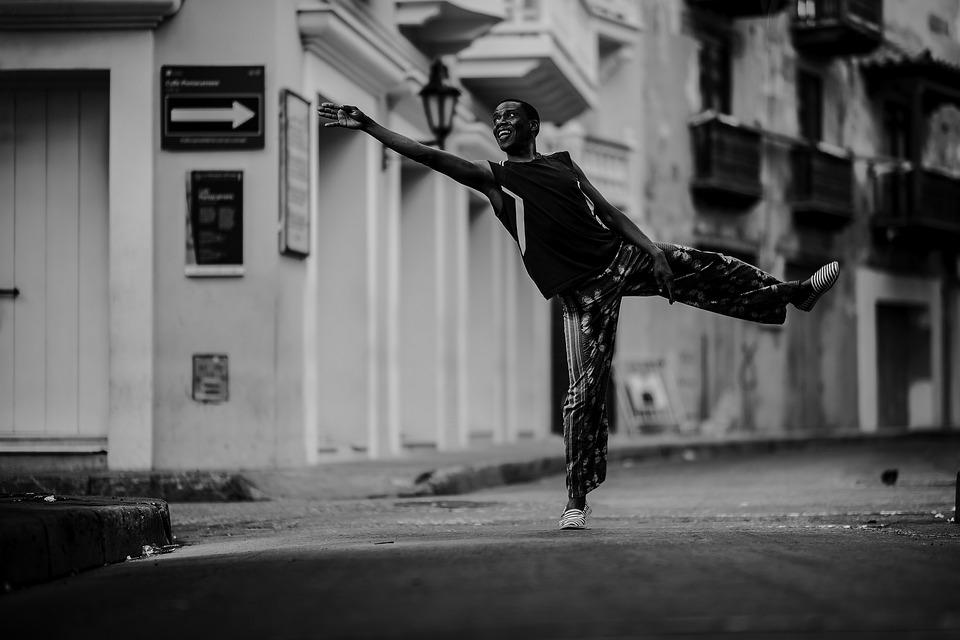 Hombre, Danza, Monocromo, Calle