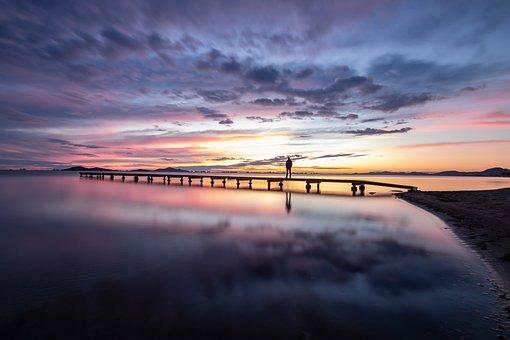 Lake, Pier, Sunset, Sunrise, Silhouette