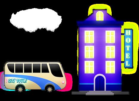 Hotel, Building, Bus, Neon Sign, Facade
