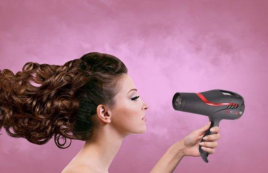 Vrouw, Haar, Haardroger, Zijaanzicht