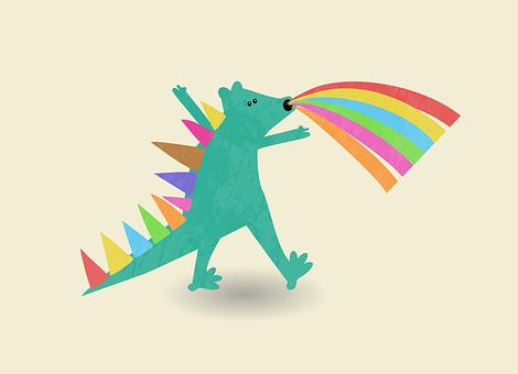 恐竜, ティラノサウルス, 獣, スパイク, は虫類, モンスター, 動物, 虹