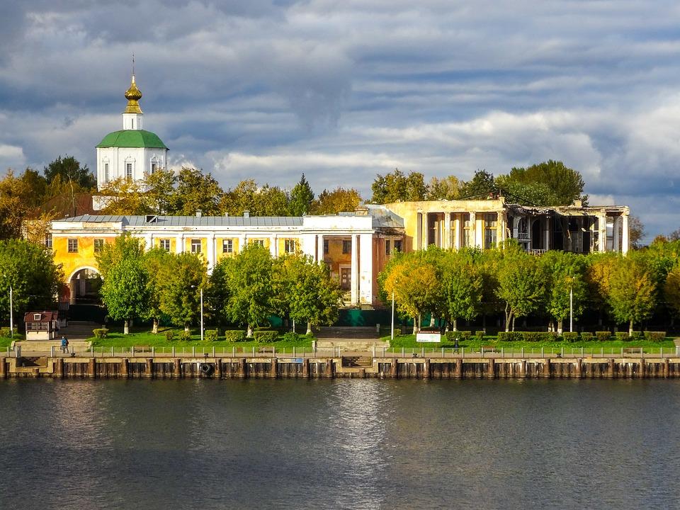 Тверь, Волга, Россия, Воды, Небо, Облака