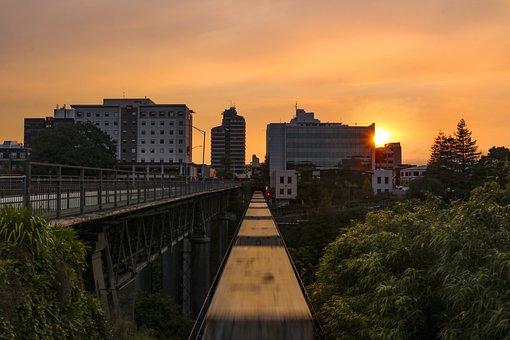 Sunset, Train, Sky, City, Moving Train