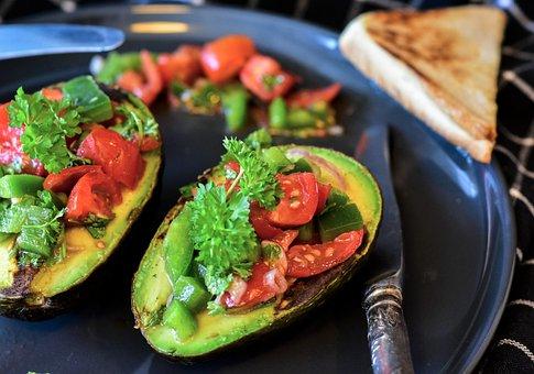 アボカド, トマト, 野菜, ワカモレ, サラダ, スターター, 前菜, 食品