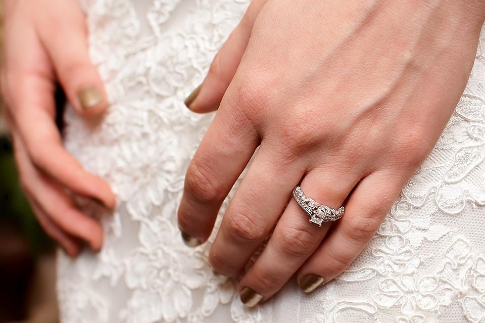 Wedding, Bride, Engagement Ring, Wedding Dress