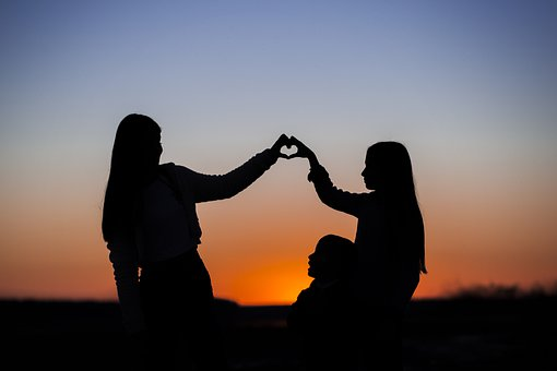 Sisters, Heart, Sunset, Sunrise