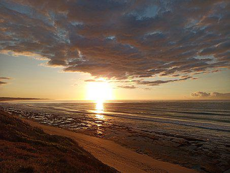 Sunrise, Beach, Ocean, Sea, Seascape