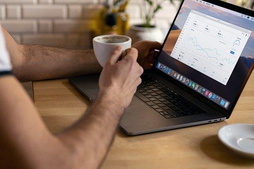 Laptop, Work, Coffee, Chart, Man