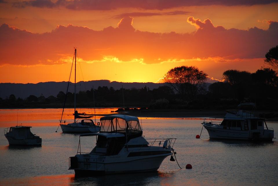 Boats, Beach, Sunset, Silhouette, Sunlight, Sea, Ocean