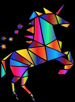 Unicorn, Polygons, Rainbow, Colorful
