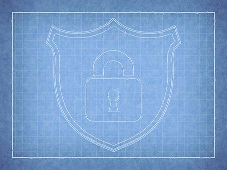 Lock, Logo, Cybersecurity, Blueprint