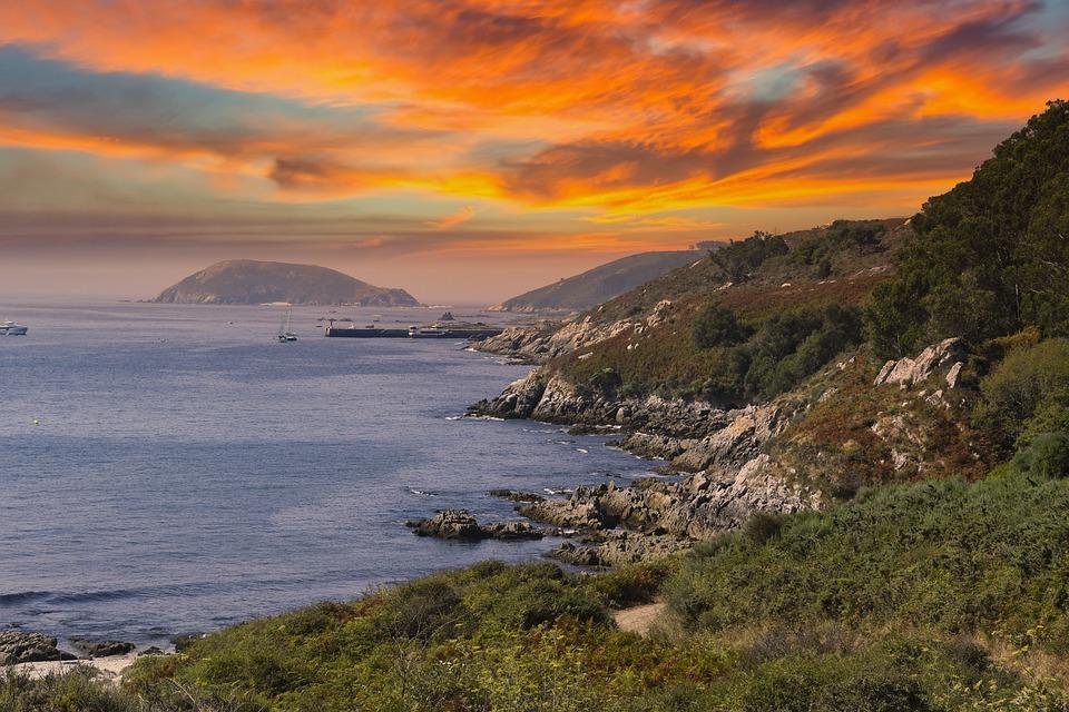 Mar, Costa, Cliff, Isla, Puesta De Sol, Sunrise, Playa