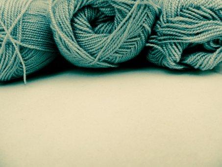 Wool, Yarn, Knitting, Blue Green Yarn