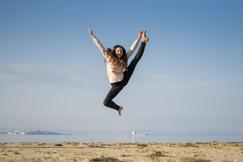 Ragazza, Salto, Felice, Danza, Mare, Beach