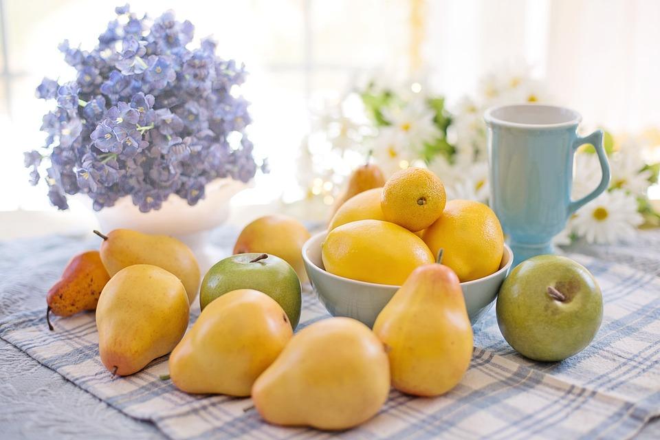 果物, 食品, 静物, 梨, レモン, リンゴ, 新鮮な, 健康, カップ, ボウル, 明るく開放的