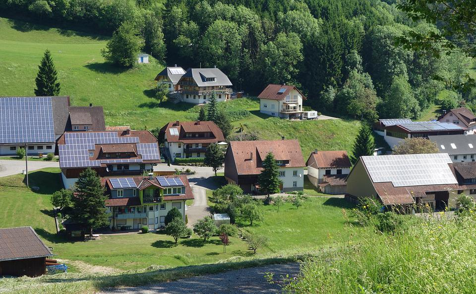 Village, Landscape, Photovoltaic, Roofs, Green