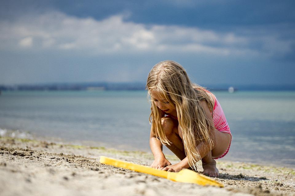 Dziecko, Beach, Piasek, Grać, W, Dziewczyna