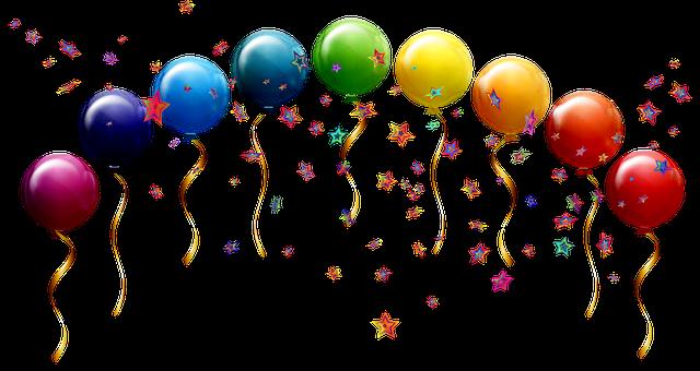 Balloons, Confetti, Stars, Birthday