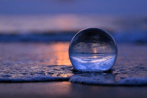 Lensball, Beach, Sea, Glass Ball