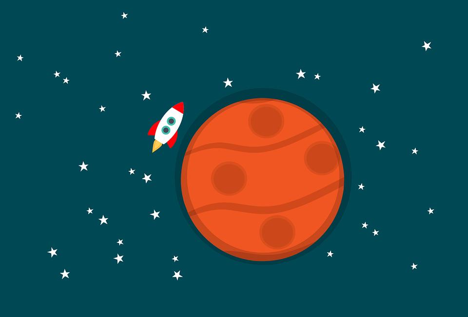 Ракета, Планеты, Пространство, Марс, Сфере, Звезды