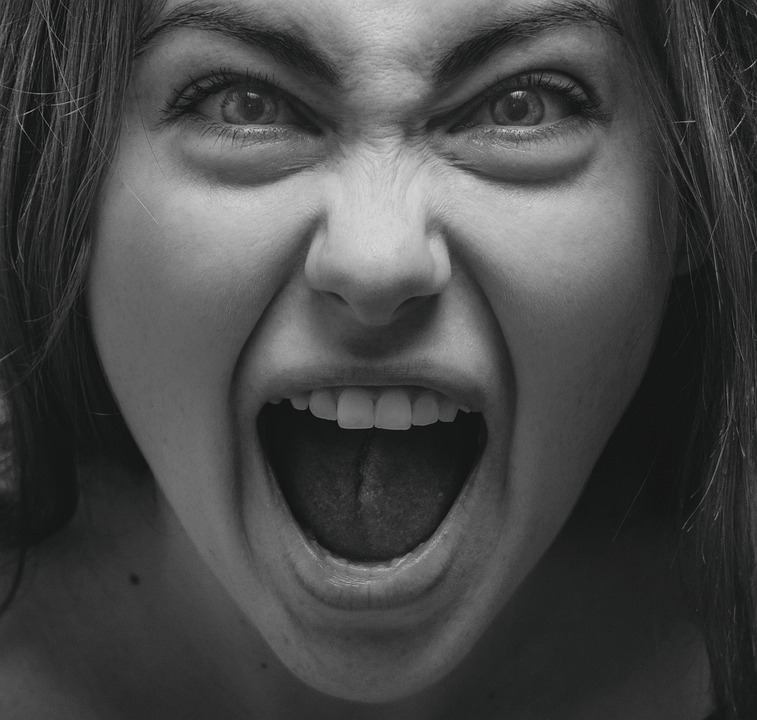 Woman, Scream, Monochrome, Shout, Mad, Angry, Girl