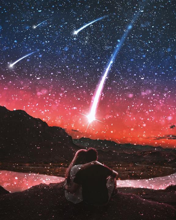 ロマンチックな, 流れ星, ロマンス, 銀河, 宇宙, 愛, 愛好家, 星, 星空, 抽象的な, 輝き