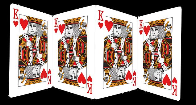 Playing Cards, Gambling, King, Hearts