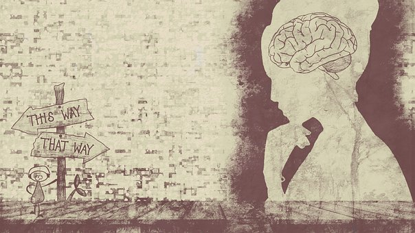 Brain, Woman, Arrow, Sign, Direction