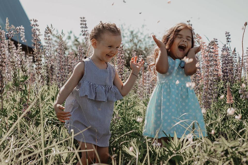 Dziewczyny, Natura, Szczęście, Dzieci, Szczęśliwi