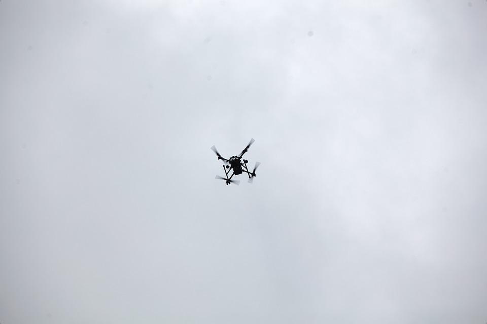 Drone, Air, Mouche, Battant, Ciel, Carte, Vue