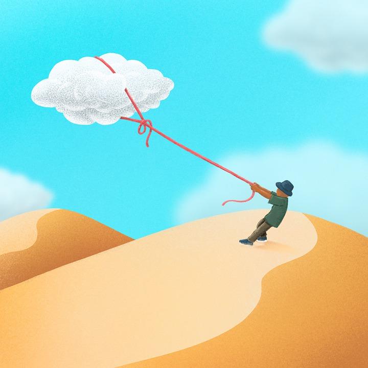 Pustynia, Facet, Chmury, Lina, Podróżny, Wędrowny