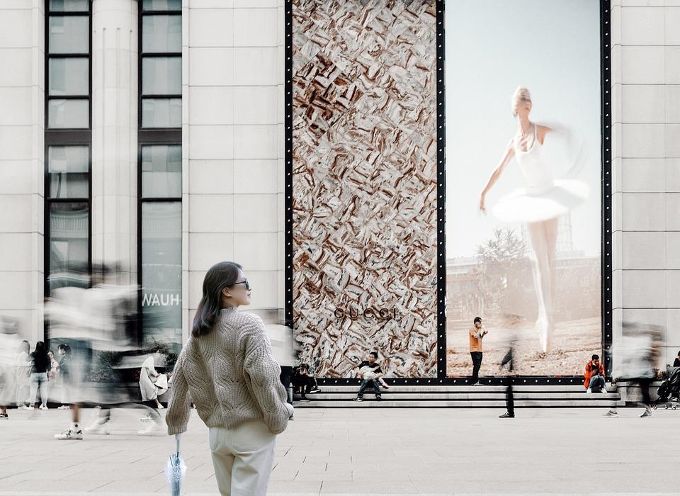 Ulicy, Kobieta, City, Billboard, Shanghai, Ludzie
