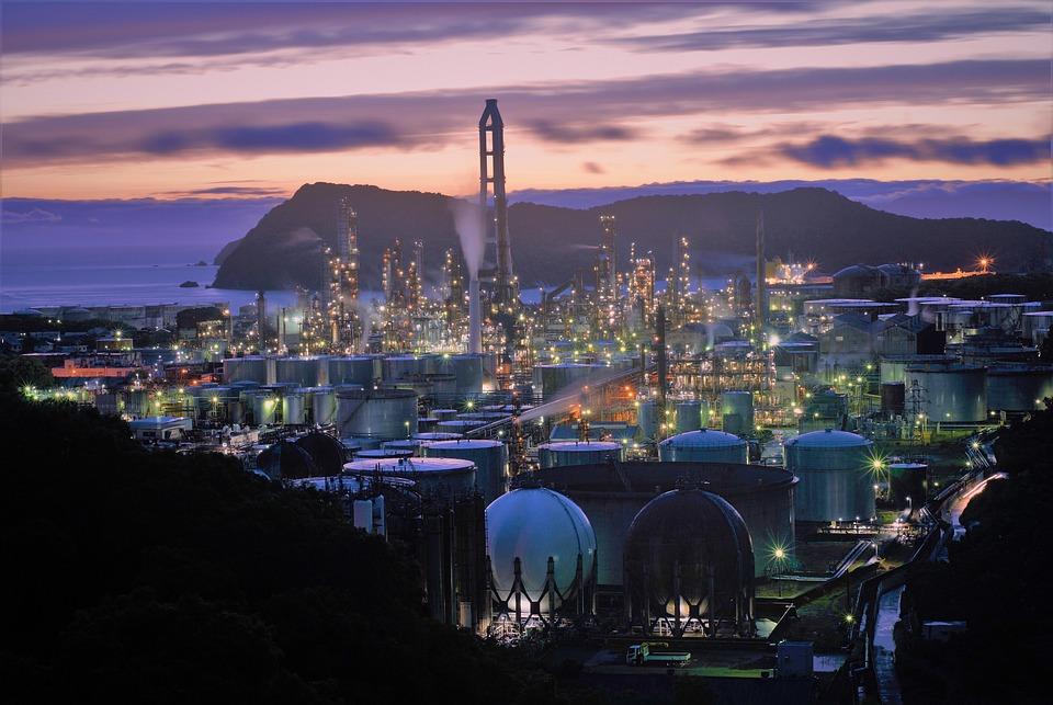 Sonnenuntergang, Fabrik, Gebäude, Beleuchtet