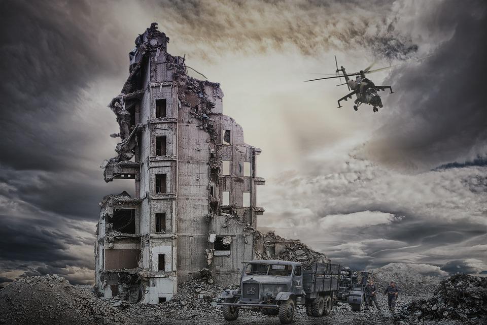 Ruiny, Zniszczenie, Wojna, Żołnierze, Budynków